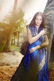 Manera india en sari Imágenes de archivo libres de regalías
