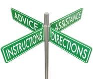 Manera 4 Intersectio de la ayuda cuatro del consejo de las direcciones de las instrucciones stock de ilustración