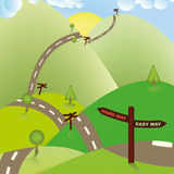 Maneras de la señal de tráfico, difícilmente o fácil. Concepto del negocio. Foto de archivo