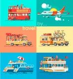 Maneras de viajar Viaje al mundo en diversos vehículos Viaje en coche, en avión, en barco, en SUV Imagenes de archivo
