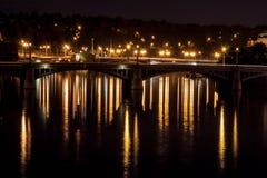 Manes Bridge at night. Manes Bridge lights at night. Prague stock images