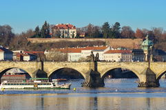 Landmark attraction in Prague: landscape with Manes Bridge - Czech Republic.  Royalty Free Stock Image