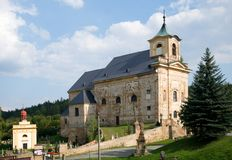 Manetin, Western Bohemia, Czech republic,. Baroque church and cemetery in the town Manetin, Western Bohemia, Czech republic,Europe Stock Image