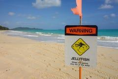 Manetvarningstecken på den härliga hawaii stranden Arkivfoton