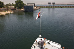 Maneuver in Nile river Stock Images