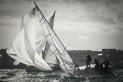 Maneuver at regatta Royalty Free Stock Photo