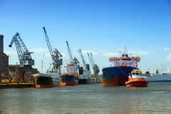 Maneuvers in port Stock Image