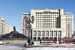 Manezh Square and the Four Seasons Hotel Moscow. Royalty Free Stock Photos