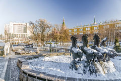 Manezh Square in Moscow. winter sunny day Stock Photography
