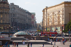 Manezh Square and Tverskaya Street Stock Images