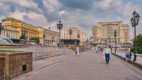 Manezhnaya广场、杜马和四个季节旅馆,莫斯科,俄罗斯 免版税库存照片