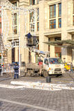 Manezhnaya Square. Installation of Christmas decorations. MOSCOW, RUSSIA - November 20.2016: Manezhnaya Square. Brigade of fitters sets new-year decorations on a royalty free stock photos