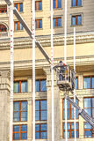 Manezhnaya Square. Installation of Christmas decorations. MOSCOW, RUSSIA - November 20.2016: Manezhnaya Square. Brigade of fitters sets new-year decorations on a stock photography