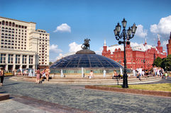 Manezhnaya square in Moscow of Russia. Manezhnaya square in Moscow. Russia Royalty Free Stock Photo