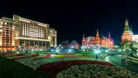 Manezhnaya Square at night in Moscow Stock Photography