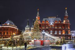 Manezhnayavierkant tijdens Nieuwjaar en Kerstmisvakantie, Moskou, royalty-vrije stock afbeelding