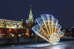 Manezhnayavierkant tijdens Nieuwjaar en Kerstmisvakantie, Moskou royalty-vrije stock foto's