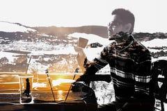 Manfantasi med kaffe Royaltyfri Bild