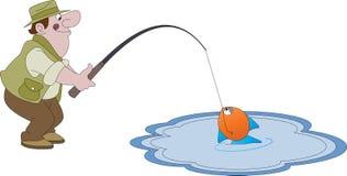 Manfiske i ett damm Fotografering för Bildbyråer