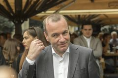 Manfred Weber visit? Zagreb, Croacia foto de archivo