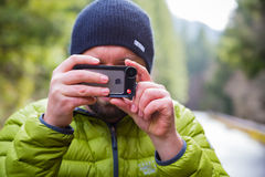 Manfrotto iPhone Lens Photographer Stock Images