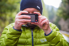 Manfrotto iPhone Lens Photographer Stock Image