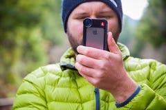Manfrotto iPhone Lens Photographer Stock Photos