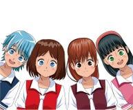 Manga κοριτσιών ομάδας anime Στοκ εικόνα με δικαίωμα ελεύθερης χρήσης