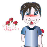 Manga boy cute love shy Royalty Free Stock Photo