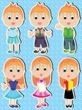 Manga Boy Girl Happy Set_eps. Illustration of character manga boy and girl happy set on square pattern background. --- This .eps file info Version: Illustrator 8 royalty free illustration