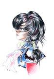 Manga Boy Illustration. Colorful illustration of a manga boy in profile.  Isolated on a white background Stock Image