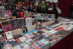 Manga comics on display at Festival del Fumetto convention in Milan, Italy Royalty Free Stock Photos