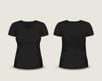 Manga con cuello de pico negra del cortocircuito de la camiseta de las mujeres con en el frente y visiones traseras Modelo del ve Fotografía de archivo