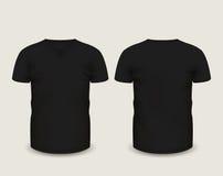 Manga con cuello de pico negra del cortocircuito de la camiseta de los hombres en frente y visiones traseras Modelo del vector Ma Imagen de archivo