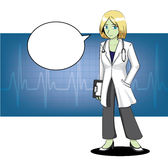 Manga Doctor Stroke Cartoon Vector illustration 1 Arkivbild