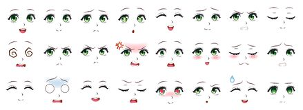 Free Manga Expression. Anime Girl Facial Expressions. Eyes, Mouth And Nose, Eyebrows In Japanese Style. Manga Woman Emotions Stock Photo - 196224040