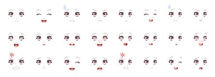 Free Manga Expression. Girl Eyes, Mouth, Eyebrows Anime Woman Faces. Female Character In Cartoon Japanese Or Korean Kawaii Royalty Free Stock Photography - 199373707