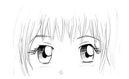 Manga Eyes. Drawing isolated on white Royalty Free Stock Photo