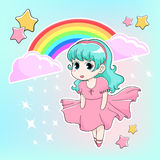 Manga girl. Drawn in chibi style with rainbow and stars at the background Stock Photo