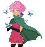 Manga girl. Mysterious manga girl holding butterfly Stock Photos