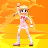Manga Girl dances. Cute young Girl in Manga style strikes a well known dancing pose With Clipping Path / Cutting Path stock illustration