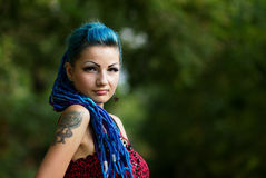 Manga girl with dyed turquoise hair Stock Photo