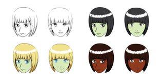Manga Helmet Hair Girl Stroke Vector Illustration Royalty Free Stock Photo