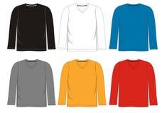 Manga larga del cuello en v de la camiseta de la plantilla Foto de archivo libre de regalías