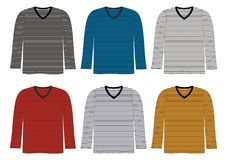 Manga larga del cuello en v de la camiseta de la plantilla rayada Fotos de archivo
