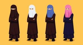 Manga Muslim Niqab Colors Cartoon vektorillustration royaltyfri illustrationer