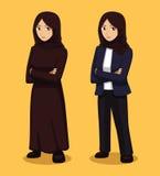 Manga Muslim Woman Cartoon Vector illustration royaltyfri illustrationer
