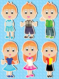Manga pojkeflicka lyckliga Set_eps Royaltyfria Foton