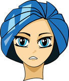 Manga Portrait. A girl's portrait drawn in hintai/manga style drawing characterised by wide eyes. She has blue eyes and hair Royalty Free Illustration