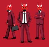 Manga Red Devil en historieta del uniforme del negocio plantea el ejemplo del vector de la historieta libre illustration
